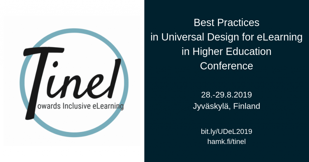 Conference banner: Best Practices in Universal Design for eLearning in Higher Education Conference 28.-29.8.2019, Jyväskylä, Finland.
