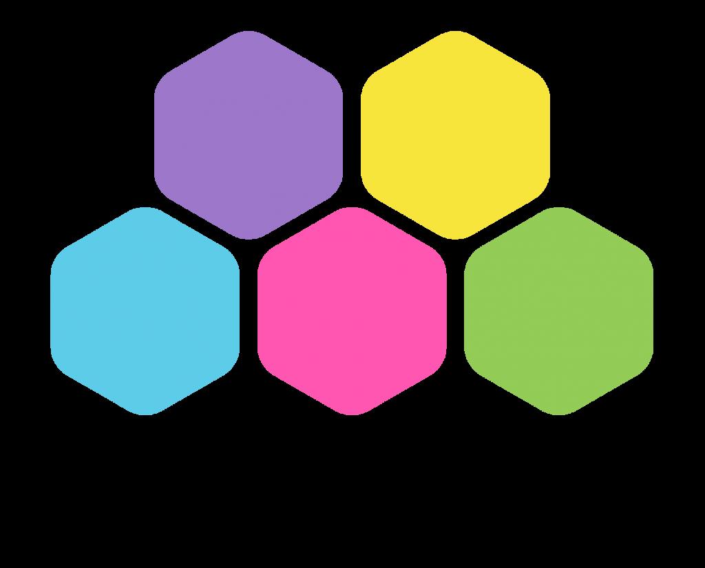 Osuvat taidot -hankkeen logo, jossa Osuvat taidot -teksti sekä viisi eriväristä kuusikulmiota