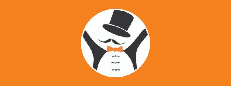 eEemeli-kilpailun logo: silinterihattupäinen eEemeli-hahmo
