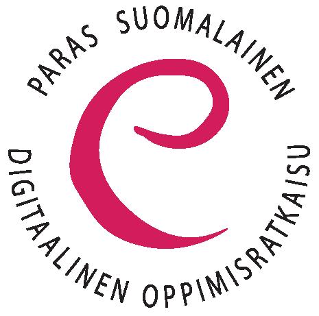 eEemeli-kilpailun pinkki e-kirjain, jonka ympärillä teksti paras suomalainen digitaalinen oppimisratkaisu