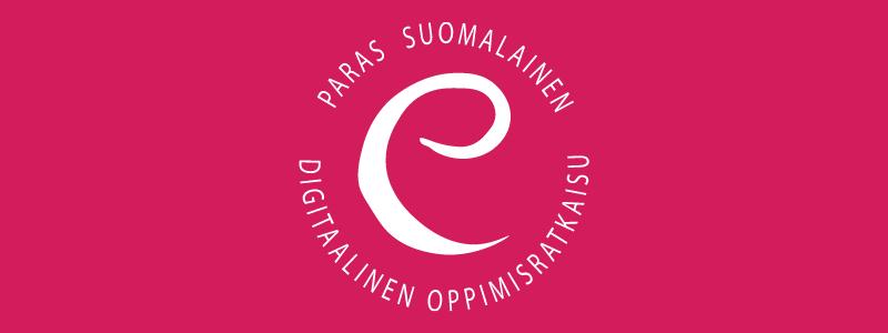 eEemeli-kilpailun e-kirjain, jonka ympärillä teksti paras suomalainen digitaalinen oppimisratkaisu