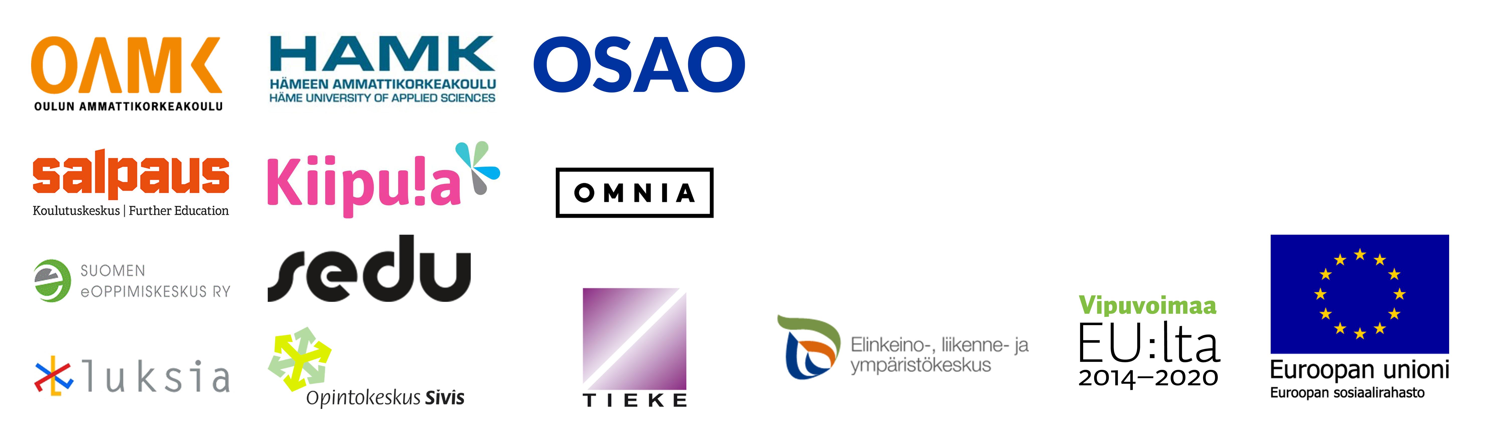 Osuvat taidot -hankkeen osatoteuttajien sekä rahoittajan logot