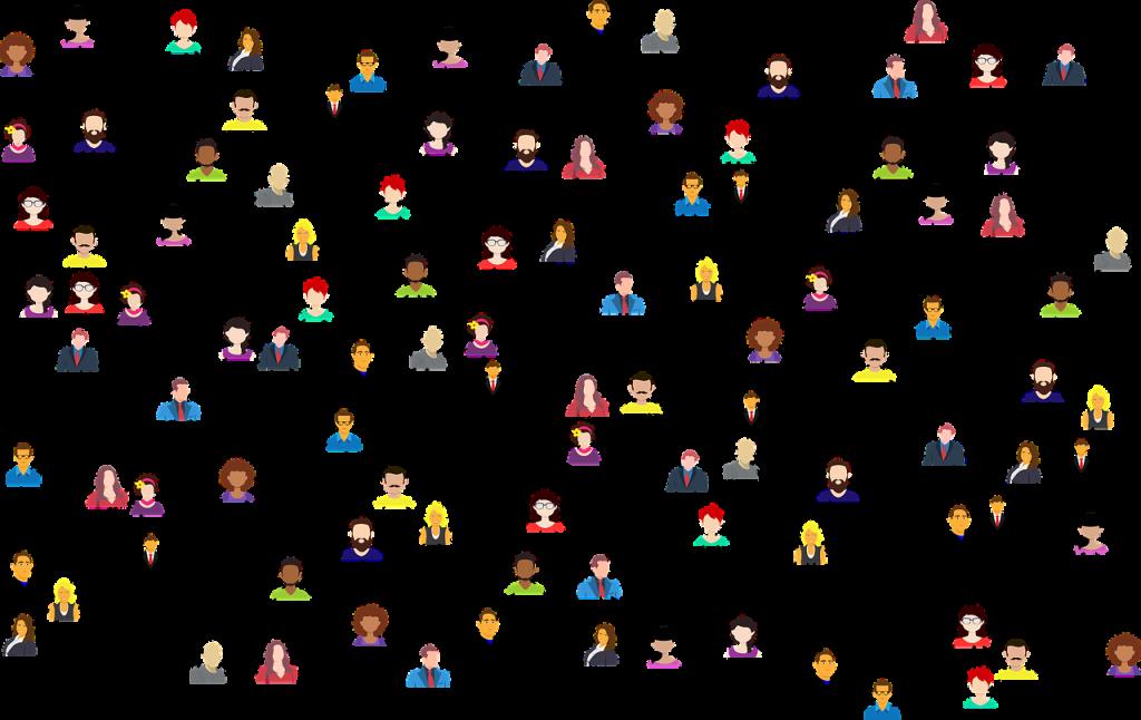 Piirroskuva, jossa runsaasti ihmishahmoja, joita yhdistää erilaisten viivojen verkosto