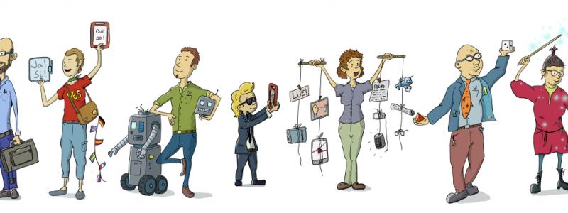 Piirroskuva, jossa tutoropettajia ja OppilasAgentteja työntouhussa