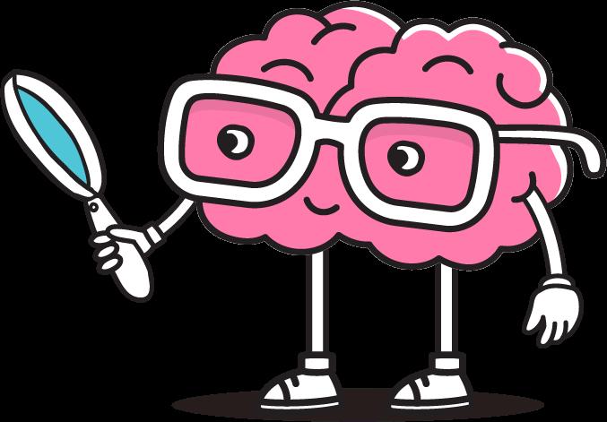 Aivot pienenä piirroshahmona suurennuslasi kädessään