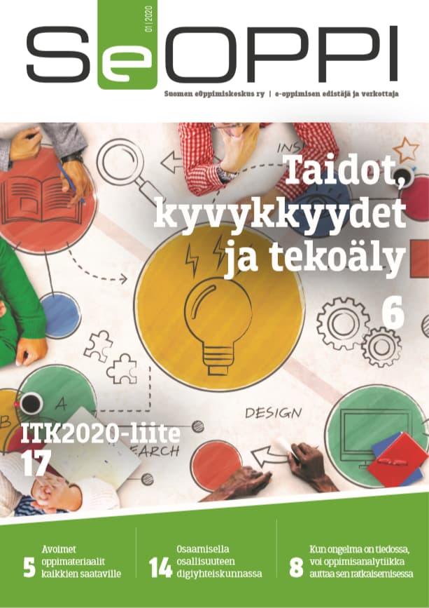 SeOppi 1/2020 -lehden kansi. Isoin otsikko: Taidot, kyvykkyydet ja tekoäly