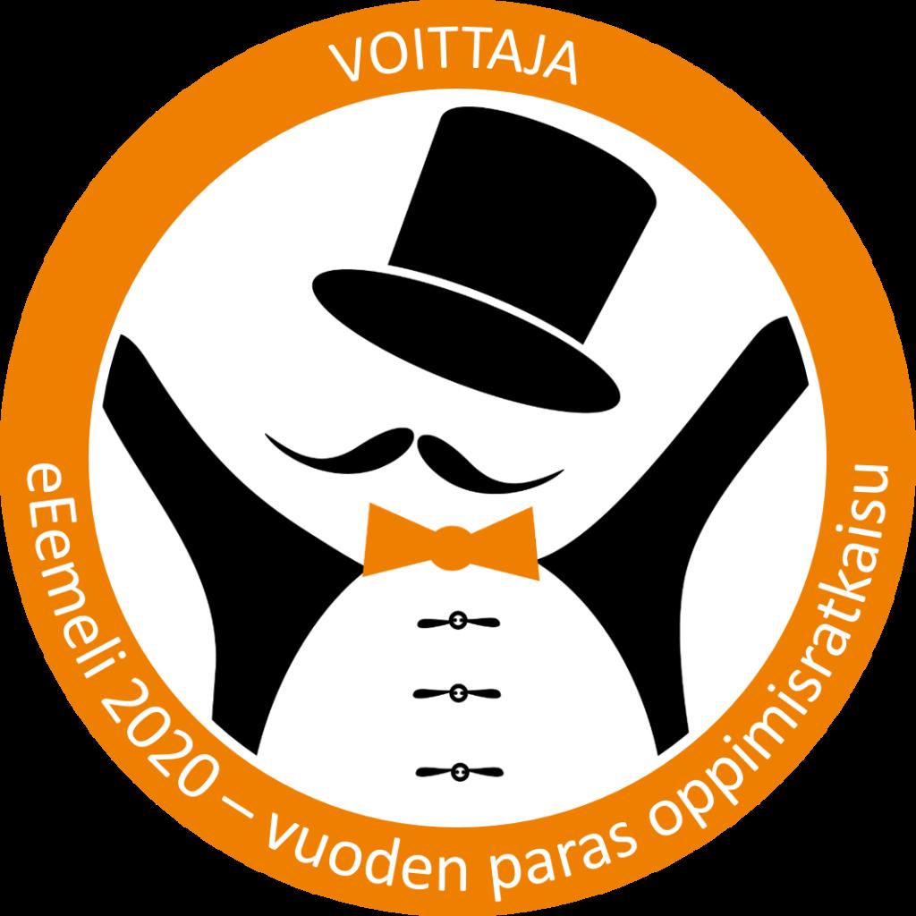 Pyöreä eEemeli 2020 -kilpailun voittajan merkki, jossa eEemeli-hahmo oranssin renkaan sisällä