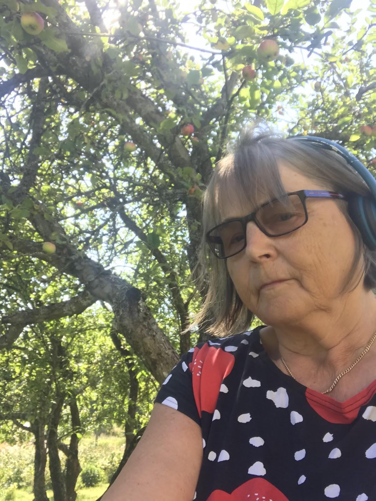 Leena Vainio kesäisen omenapuun varjossa