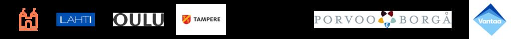 Hankekuntien logot jonomuodossa: Hämeenlinna, Lahti, Porvoo, Oulu, Tampere, Turku ja Vantaa