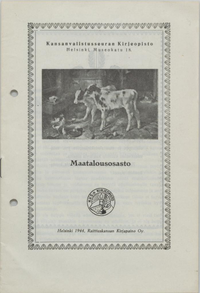 Kansi julkaisusta vuodelta 1944. Kansanvalistusseuran kirjeopisto: Maatalousosasto