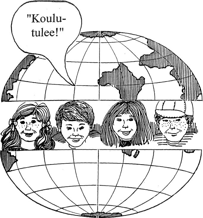 Mustavalkoinen piirroskuva, jossa halkaistun maapallon sisällä neljät kasvot sekä puhekuplassa teksti Koulu tulee!