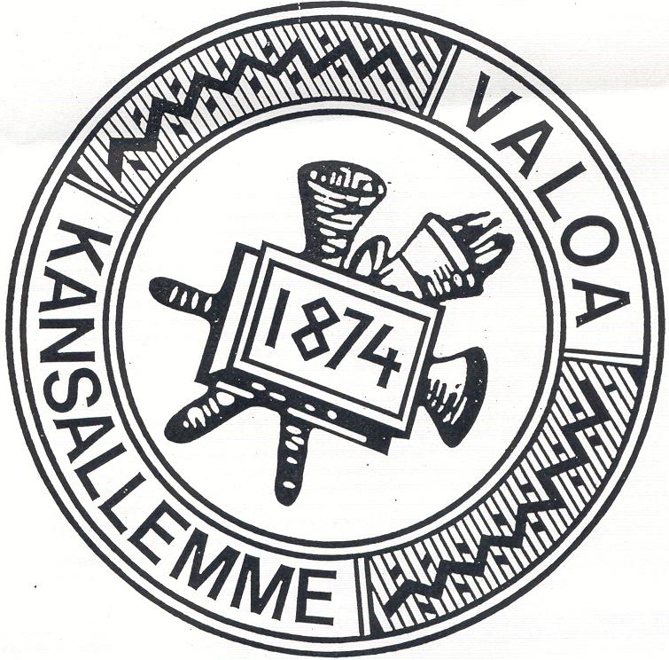 Pyöreä logo, jonka ulkokehällä teksti Valoa kansallemme ja keskellä vuosiluku 1874.