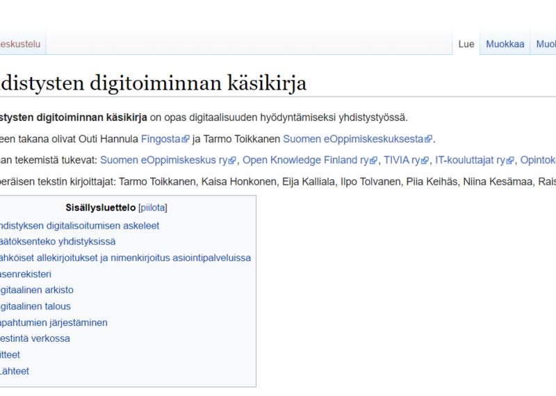Kuvakaappaus Wikikirjastosta: Yhdistysten digitoiminnan käsikirja