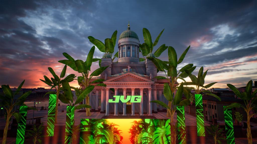 Kuva virtuaalimaailmasta: Senaatintorin kirkko, jonka edessä vihreällä teksti JVG.