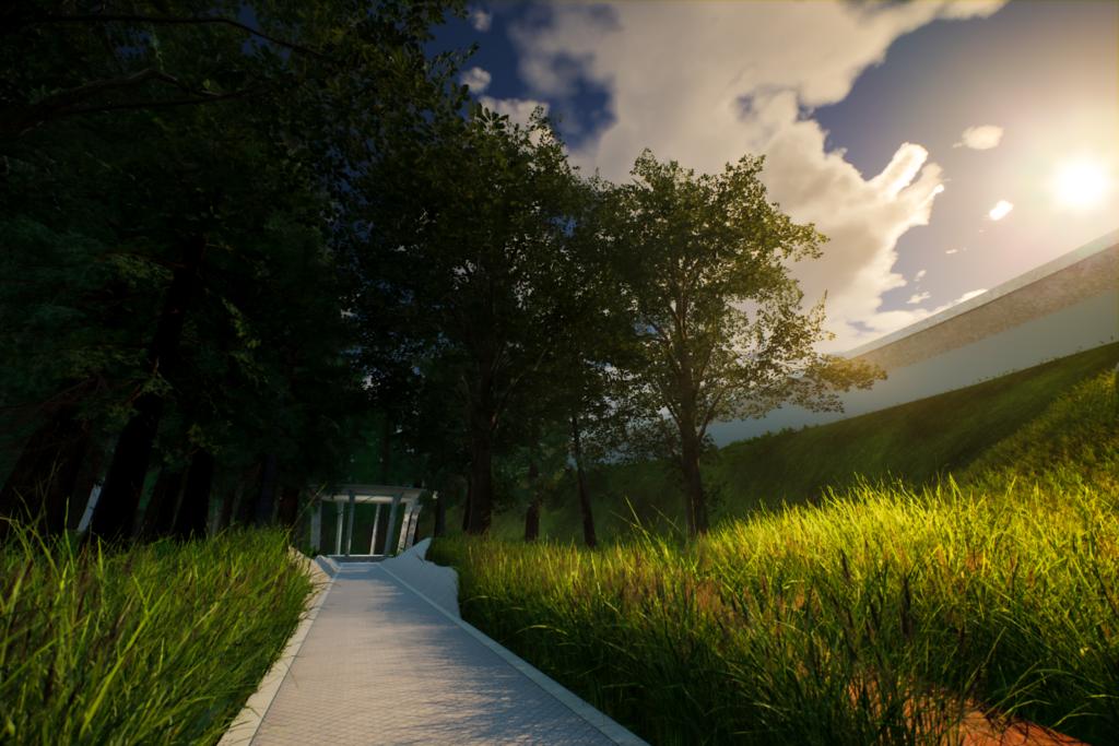 Käytävä keskelle vehreää virtuaalipuistomaisemaa.