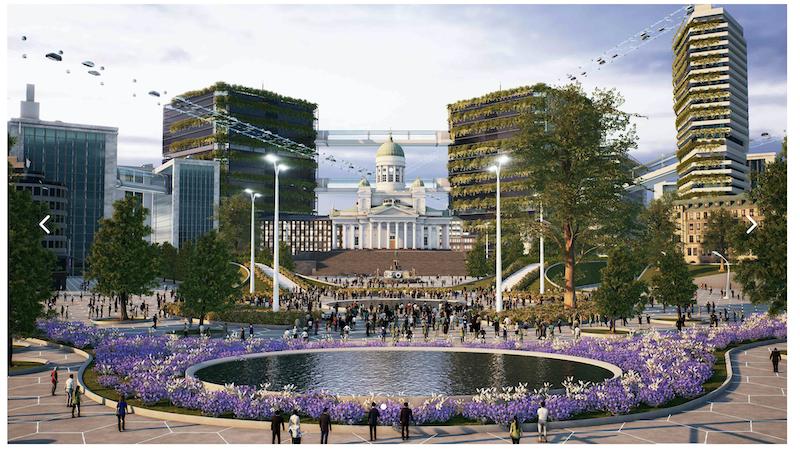 Virtuaalimaailma, jossa kauimpana keskellä senaatintorin kirkko, edustalla pyöreä vesielementti, jota ympäröi violetit kukat.