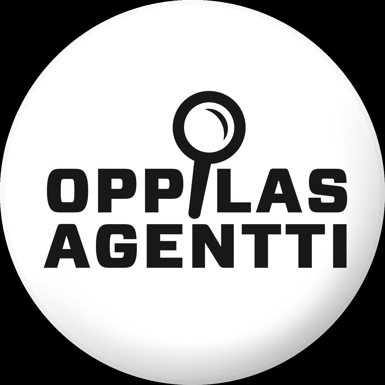 Valkoinen, pyöreä logo, jossa teksti OppilasAgentti.