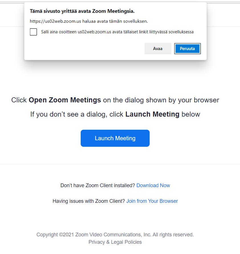 Kuvakaappaus selainnäkymästä, jossa mahdollisuus liittyä Zoom-kokoukseen sovelluksella tai selaimella.