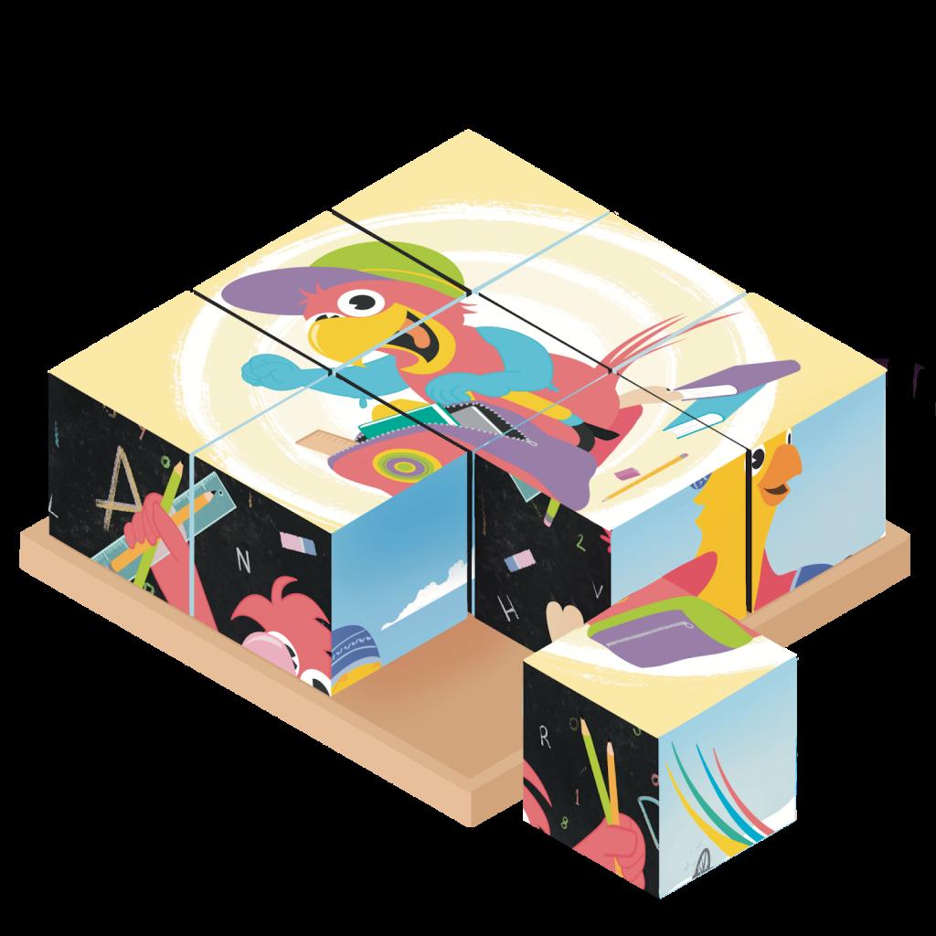Piirroskuva kuutiopalapelistä, jossa kuva Qridin lintuhahmosta.