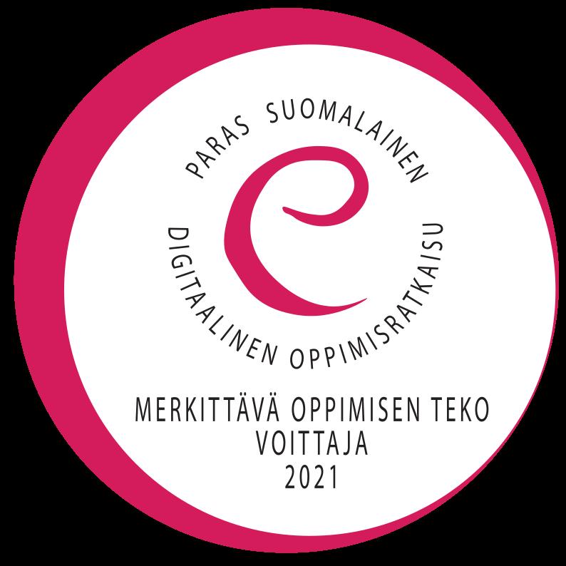 Pyöreä merkki, jossa teksti: Paras suomalainen digitaalinen oppimisratkaisu, Merkittävä oppimisen teko, Voittaja, 2021.